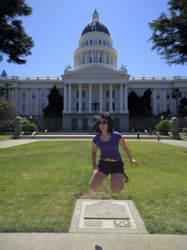 Jumping in front of California state capitol