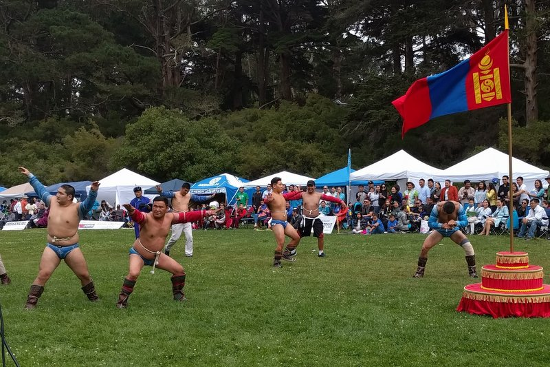 Mongolian wrestlers, Naadam in Golden Gate Park