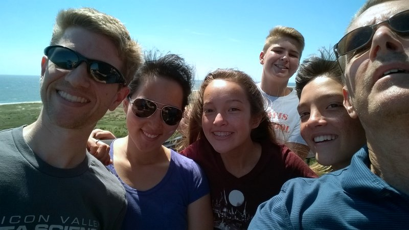 group selfie, Hatteras lighthouse