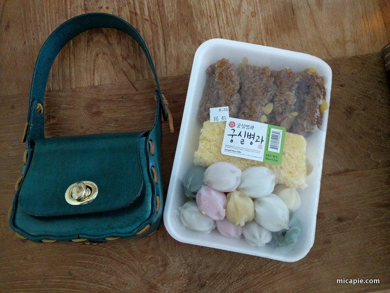 accessories bag and Korean snacks