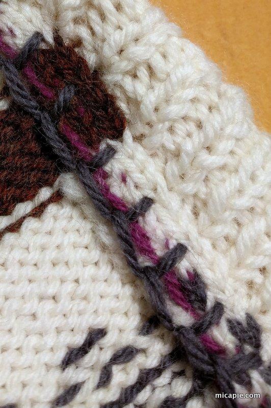 "blanket stitch on cut steeks, ""The Little Dude"""
