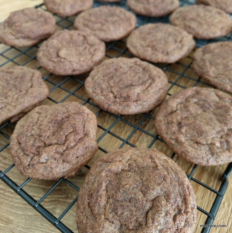 chocolate snickerdoodles on cooling racks